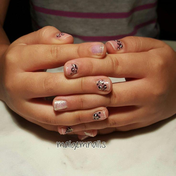 Baby glitter cheetah nails