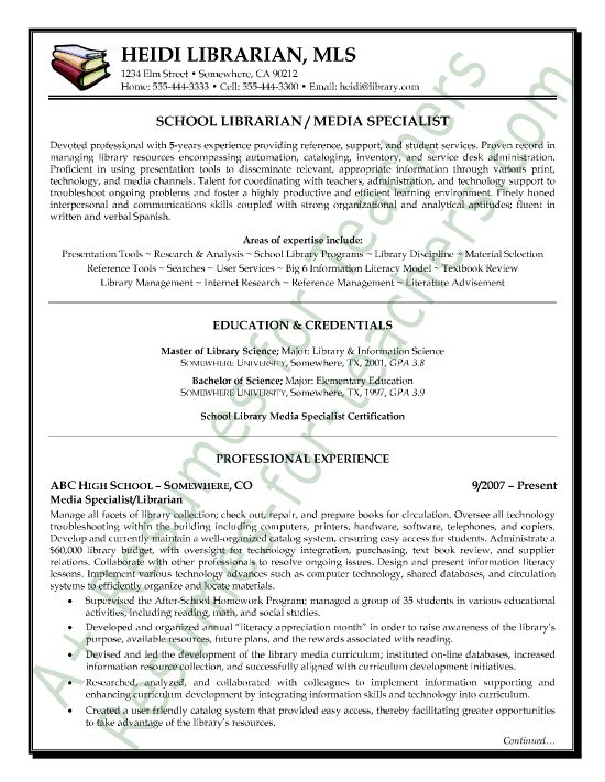 Media / Librarian Resume Sample all resumes sample Sample resume