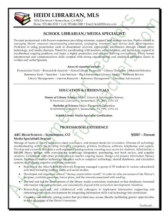 media librarian resume sample page 1 - Sample Childrens Librarian Resume