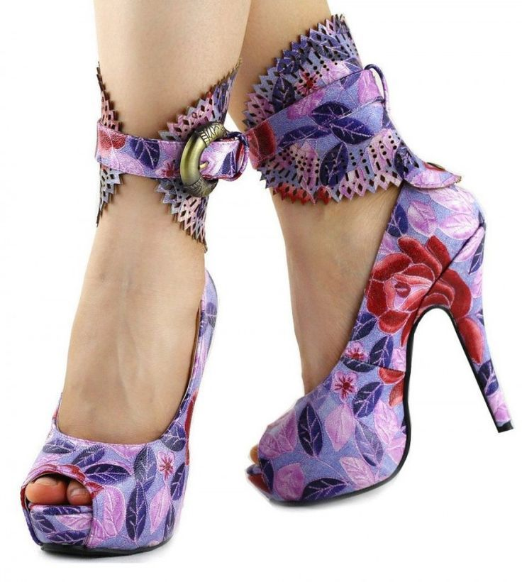 Show Story Multicoloured Floral/Animal Pattern Gladiator Platform Pumps, LF30402 - http://Visuall.co