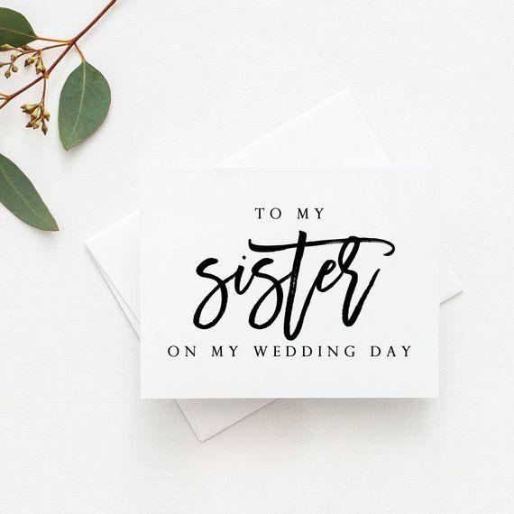 Sister Wedding Card Sister Card Wedding Card For Sister To Etsy Sister Wedding Card Bride Card Wedding Favors Fall