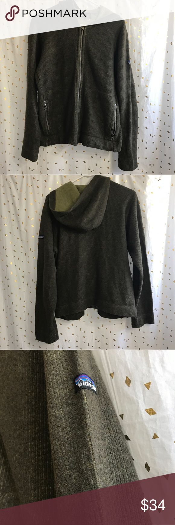 Patagonia zip up jacket hoodie Army green zip up, super comfy! Excellent condition, lightly worn no rips, tears, holes, stains or piling! Patagonia Tops Sweatshirts & Hoodies