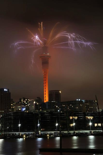 New Year's Eve Fireworks from Auckland's Sky Tower