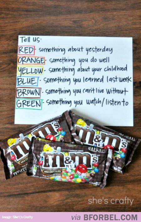 Ice-Breaker Game With M'n'M Chocolates… great for slumber parties .Plus who doesn't like M&M'S?!?!