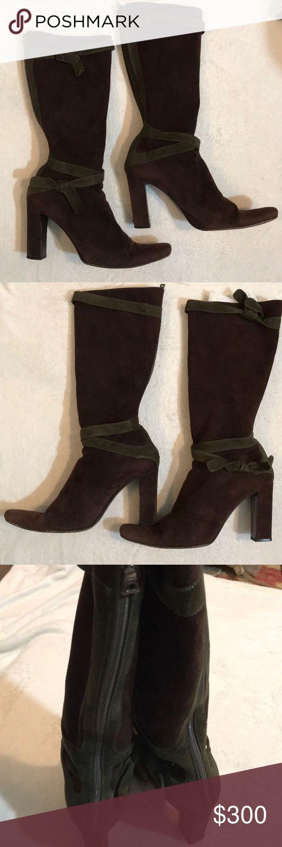 PRADA Vero Cuoio brown olive green accent boots
