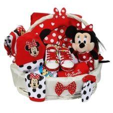 Minnie mouse lisanslı doğum hediye sepeti. 10 parça hastane çıkısı, ayakkabısı, minnie oyuncağı ile yenidoğan hediye sepeti