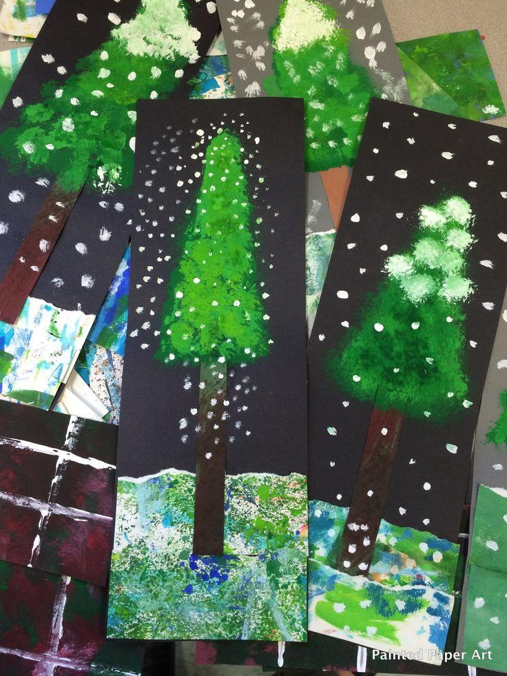 Vinterträd - collage och akrylfärg. Använd kladdpapper/underlägg och riv till mark. Stammen görs av färgat eller målat papper som klipps i strimlor. Kronan målas i tre olika gröna nyanser. Sist målas toppen på kronan med lite vit färg samt snöflingor över hela bilden. Bildformat stående smal rektangel.