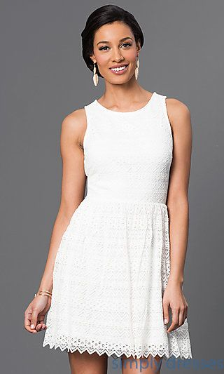 Shop short summer dresses, lace graduation dresses and casual dresses at Simply Dresses. Semi-formal, sleeveless dresses with cut-outs.