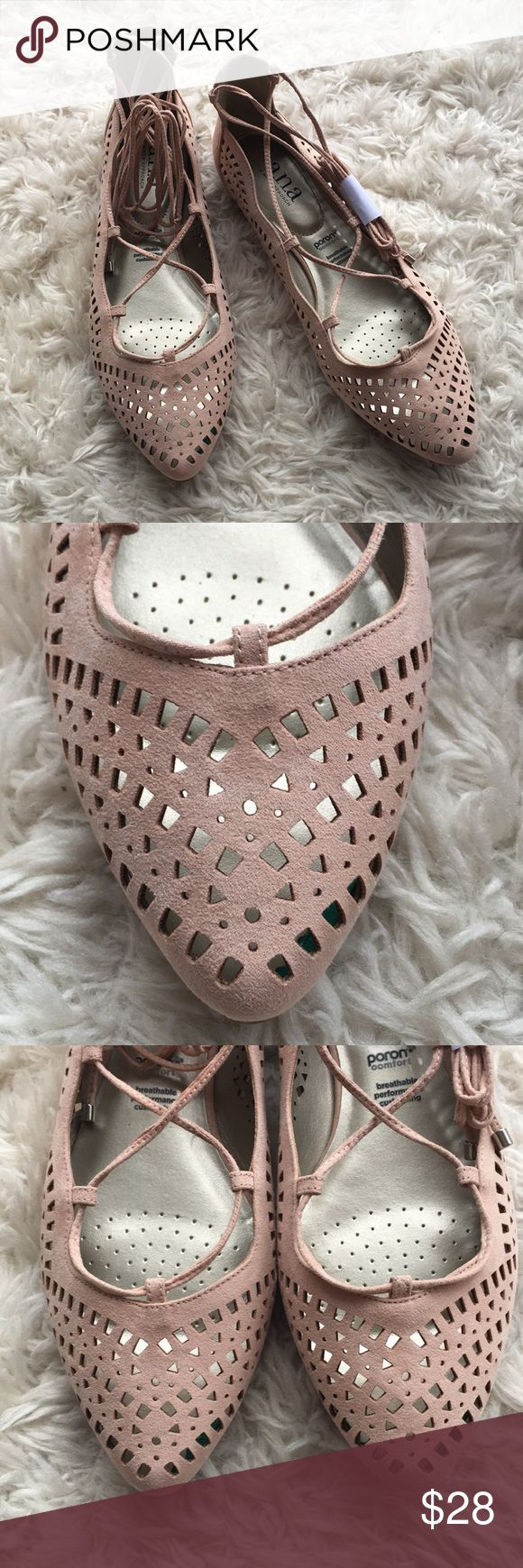 NWOT Laser Cut Lace Up Flats These flats are a blush Laser Cut style. These are NWOT. There is a faint factory glue spot on the back right shoe, not incredibly noticeable. Size 9. Save on ✈️SHIPPING✈️and BUNDLE! I even give a discount on 3 or more regularly priced item bundles. I always accept reasonable offers with the offer button! ❌Lowball offers please! a.n.a Shoes Flats & Loafers