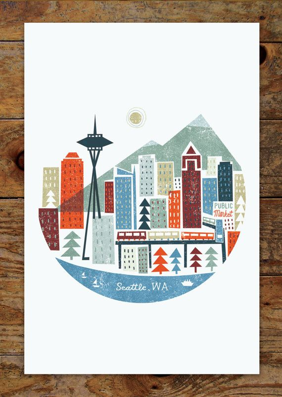 11x14 Colorful City Seattle Skyline Art Print by groovygravy