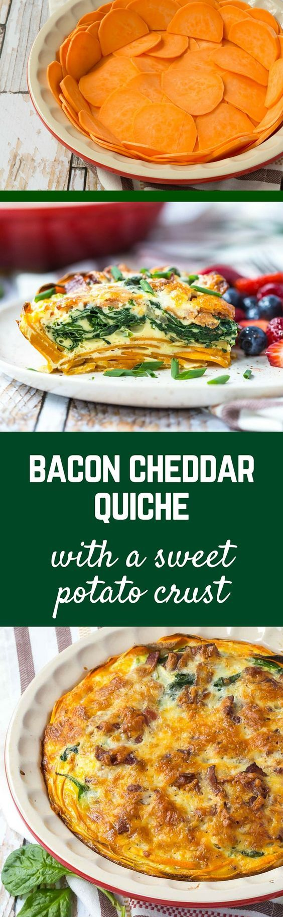 If you haven't made a quiche with a sweet potato crust, it's time to give it a try! This bacon cheddar quiche is a healthier alternative to a traditional quiche, plus it packs more flavor! Get the fun breakfast or brunch recipe on RachelCooks.com! #sponsored @MilkMeansMore