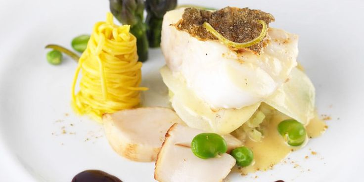 Spiced Cod and Scallop Linguine with Red Wine Sauce