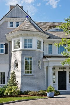 Gray Grey Shingles White Trim Metal Windows Wood Door Exterior Design Ideas, Pictures, Remodel & Decor