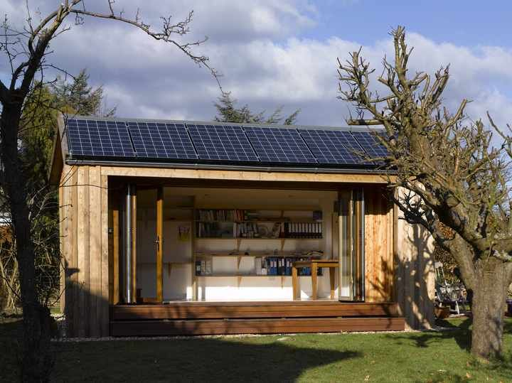 The solar panels add a multi-seasonal dimension to the structure....