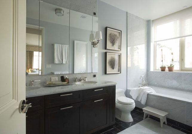 Blue walls, dark cabinetry