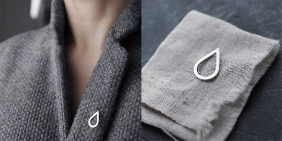 The Droplet brooch pin in solid silver
