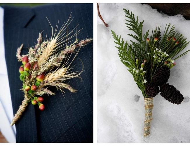 Sweet Violet Bride - http://sweetvioletbride.com/2013/04/rustic-boutonniere-ideas/ The one on the right