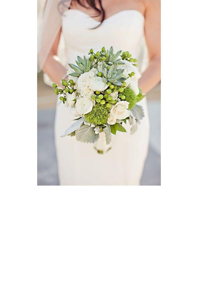 Un bouquet vert et blanc  pinterest mariage