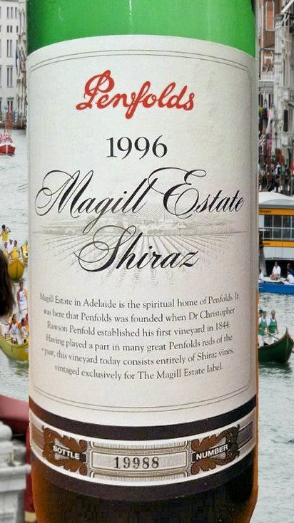 1996 from Penfolds - Superb, fruity & dry. Enjoyed, July 2014