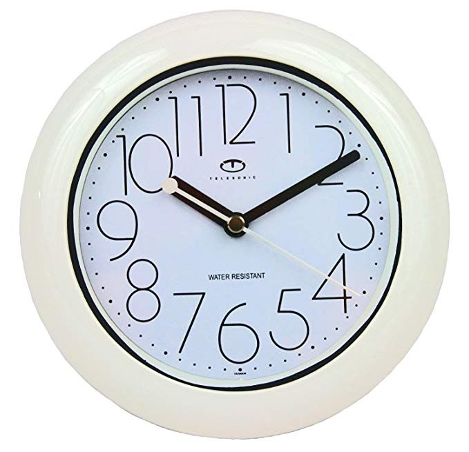 Telesonic Water Resistant Wall Clock With Quiet Sweep Movement