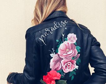 Statement custom leather jacket habdpainted and personalized