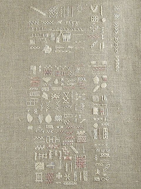white on undyed linen