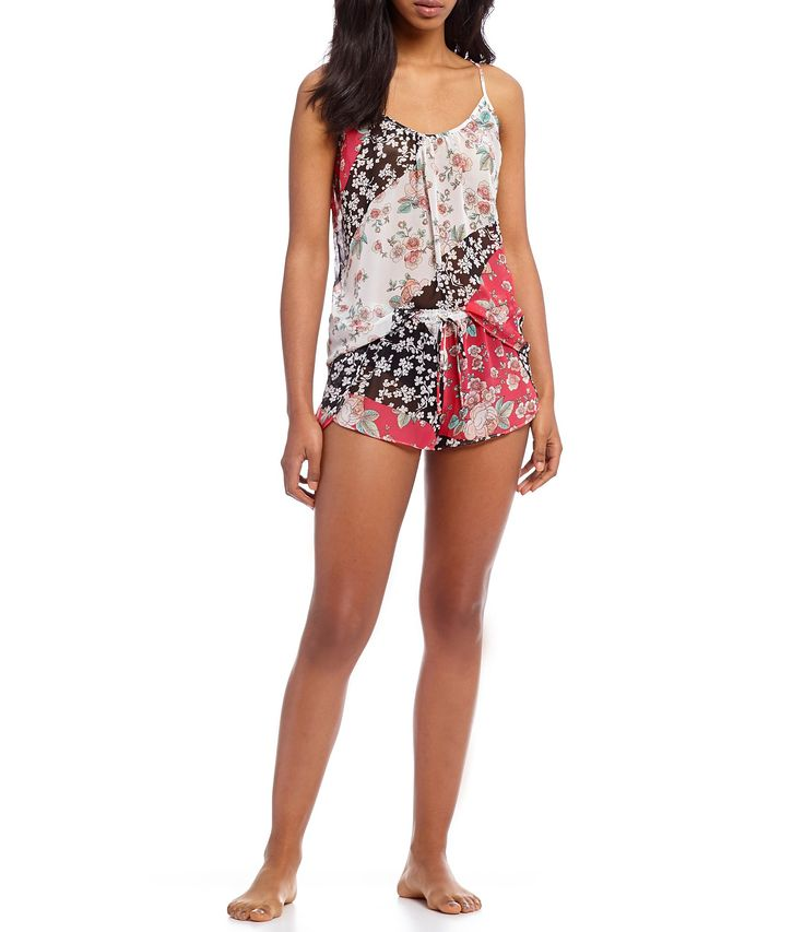In Bloom by Jonquil Annia Floral Chiffon and Lace XBack Pajamas #Dillards