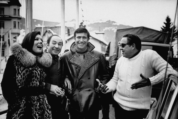 Diana Rigg, Peter Hunt, George Lazenby and Albert R. Broccoli on location for ON HER MAJESTY'S SECRET SERVICE.