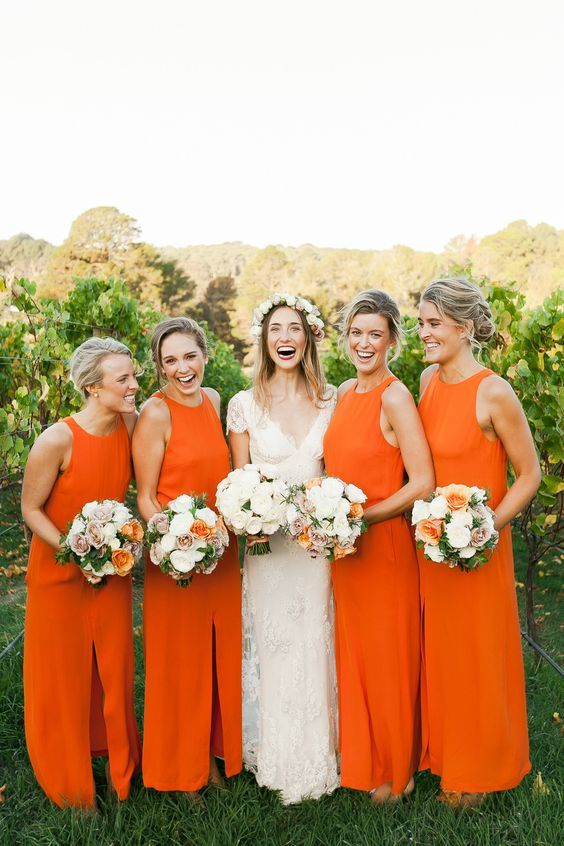vestidos de dama de boêmios laranja