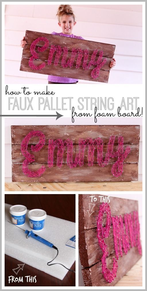 how to make your own Faux Pallet Word String Art (YES, this is made from FOAM!!) - Sugar Bee Crafts