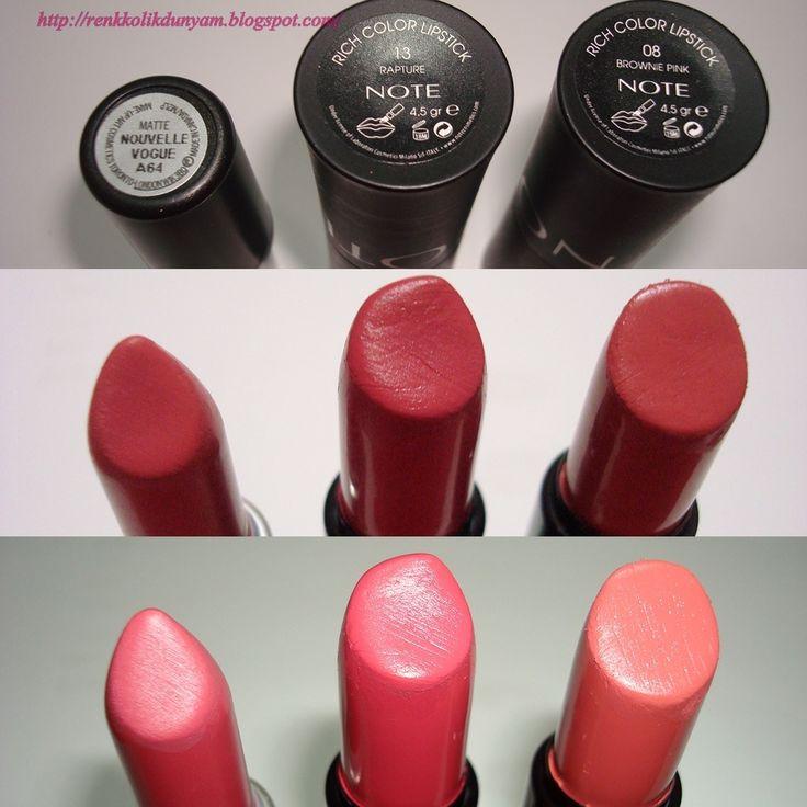 Mac 'Nouvelle Vogue' mat ruj ile Note Rich Color 08 Brownie Pink ve 13 Rapture