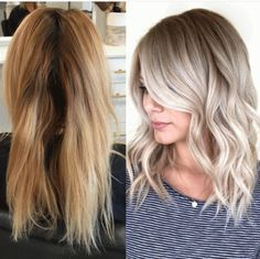 "Chrissy Rasmussen (@hairby_chrissy) of Habit Salon (@habitsalon) Gilbert, Arizona shares the HOW TO for this color correction on her client from Hawaii who has a natural base level 6, ""but the ends are super brassy which the Hawaiian sun has turned even brassier."" Rasmussen's goal is to use her natural base for an easier grow-out: STEP 1: Add highlights by weaving with Goldwell Silklift with Olaplex. STEP 2: Place random low lights with 7N Goldwell."