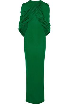 Givenchy Robe longue du soir à effet cape en jersey émeraude | NET-A-PORTER