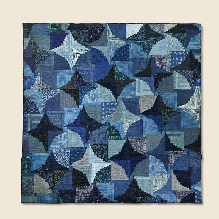 """- Austin-based quilter & artist, Janette Bibby - One of a Kind - Log Cabin design - All cotton indigo fabric with some linen pieces - 120 hours of design and quilting - Measurements: Length: 78"""" 