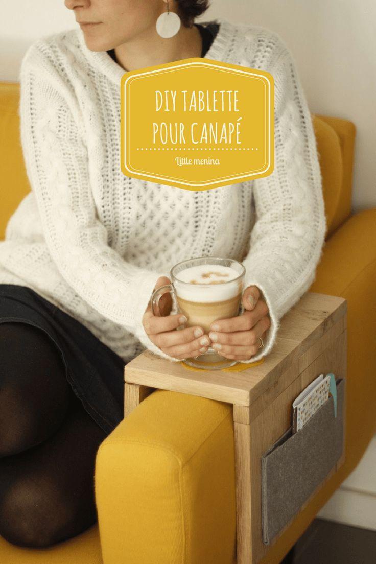 [DIY] Tablette pour canapé - Tablette en bois pliable à caler sur l'accoudoir du canapé (pour y poser un mug, un carnet à idées ou même un téléphone).