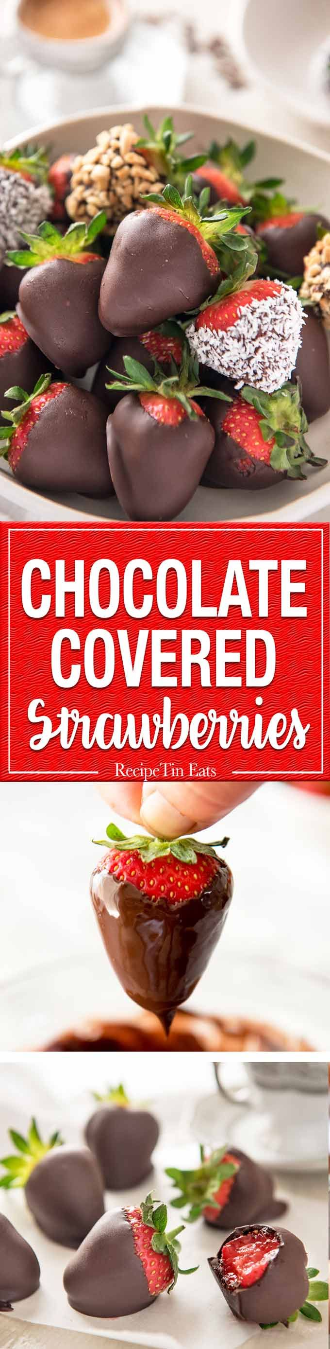Chocolate Covered Strawberries - 1 cup of chocolate chips, 2 tsp oil (for shine + stop chocolate from cracking) and strawberries is all you need! Fast, fabulous and just 47 calories per piece. www.recipetineats.com