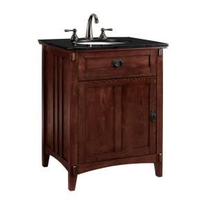 Home Decorators Collection, Artisan 26 in. W x 20.5 in. D Vanity Cabinet in Macintosh Oak with Black Granite Vanity Top in Black, 0426200110 at The Home Depot - Mobile