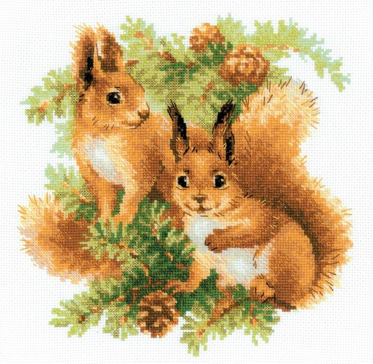 Squirrels by Riolis, counted cross stitch kit