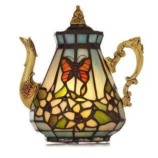 Tiffany Style Butterfly Teapot Novelty Lamp My Name Is
