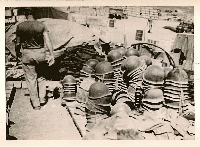 Helmets of Americans Killed On Iwo Jima