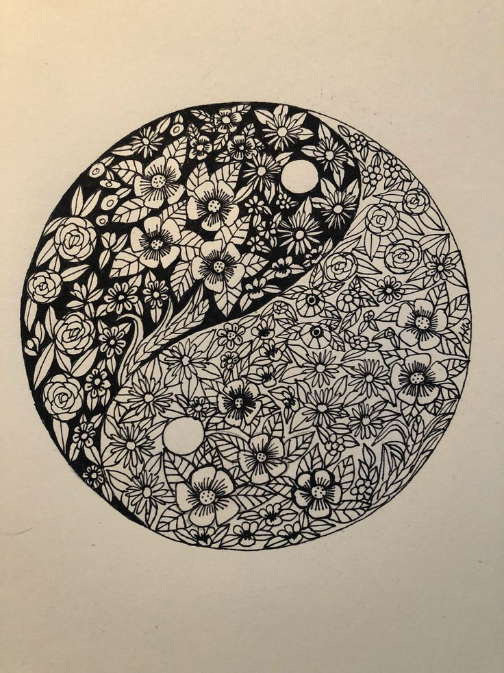 A personal favourite from my Etsy shop https://www.etsy.com/au/listing/593231331/yin-yang-flowers-ink-drawing-wall-art