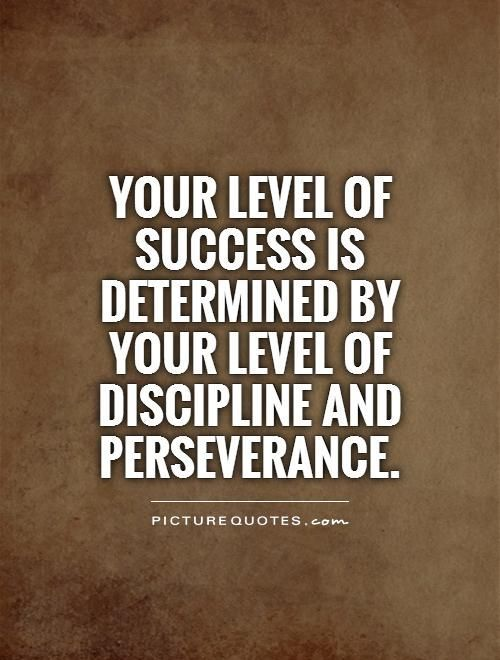 Your level of success is determined by your level of discipline and perseverance. Picture Quotes.