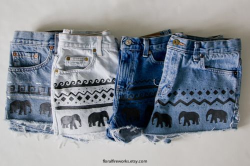 Shorts! I don't know if these were hand made or manufactured, but with a stencil and some paint, they shouldn't be difficult to do yourself.: Blocks Prints, Tribal Shorts, Denim Cutoffs, Elephants Shorts, Closet, Denim Shorts, Jeans Shorts, Diy, Summer Shorts