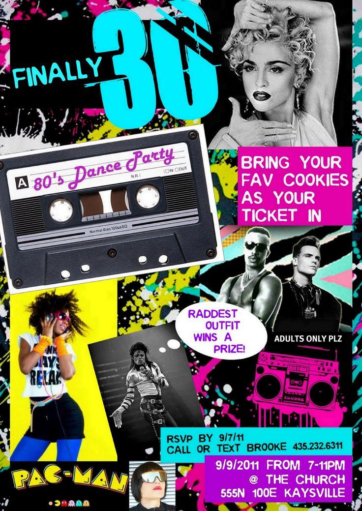 HiLLmark Design . 30th Birthday 80's dance party postcard invitation