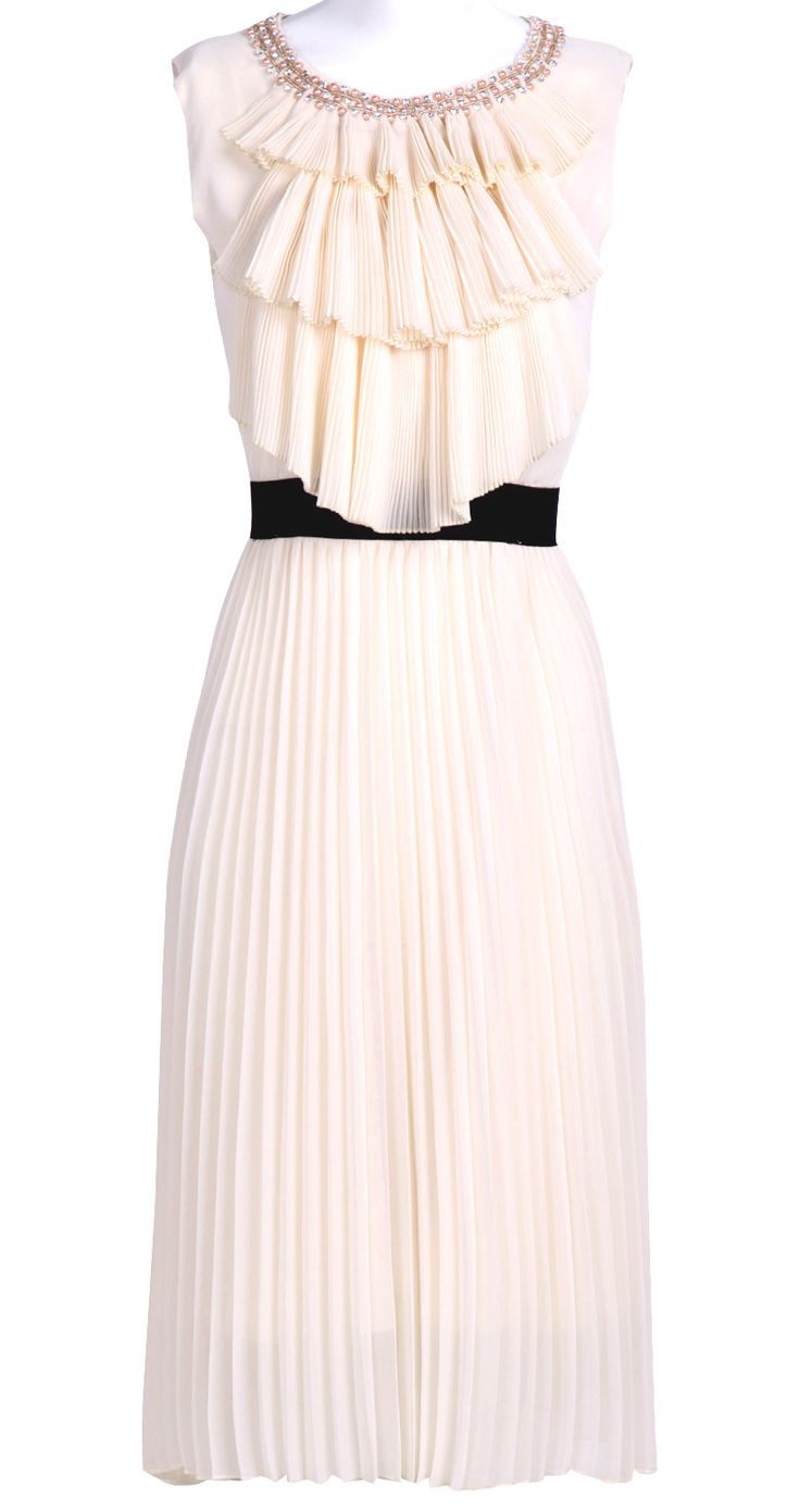 Beige Sleeveless Ruffles Front Pearls Neckline Pleated Silk Dress