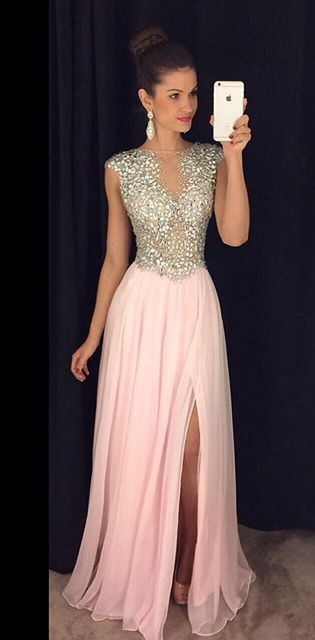 Luxurious A-line Sparkly Pink Chiffon Prom Dress with Side Slit