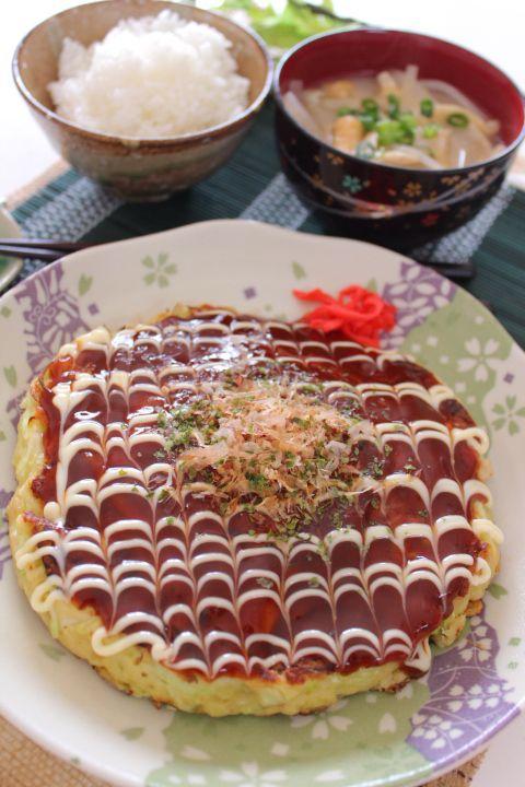 Okonomiyaki with rice and miso soup お好み焼き定食