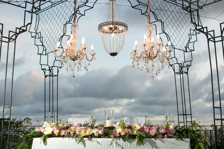 Chandeliers glowing over Bridal Table