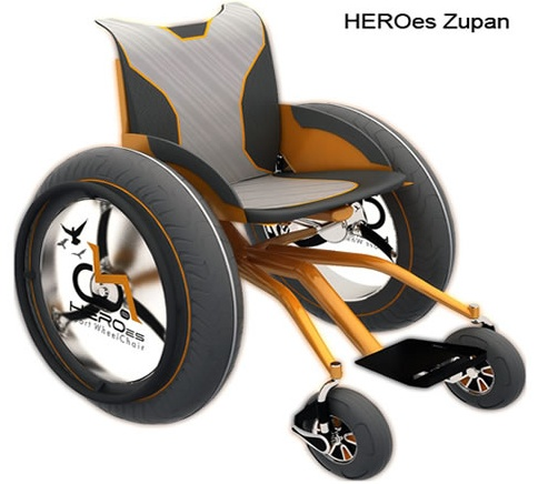 HEROes Series of Sport Wheelchairs by designer Jairo da Costa Junior. If you've ever tried to wheel or push a regular wheelchair on a sandy beech, then you know it's virtually impossible. Each of these wheelchair can navigate on beaches and can be used for beach volleyball or other sports. HERO Zupan was inspired by Mark Zupan, a quadriplegic who was also captain of the United States wheelchair rugby team, so it's built to allow for beach rugby. #NMEDA