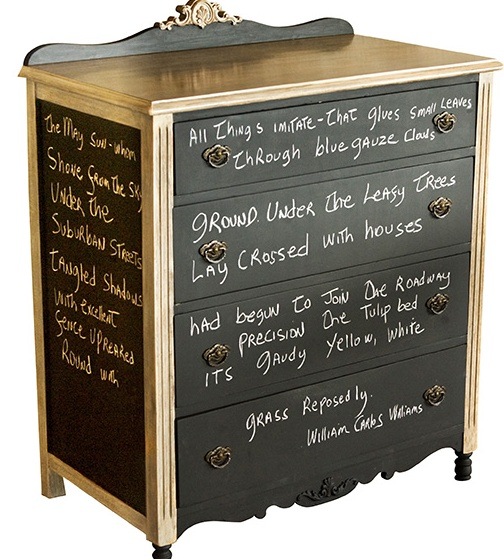 <3 Gold trim, chalkboard paint, poetry...an old dresser never had it so cool before ;)  (pssst!  Remember!  you can make your own chalkboard paint and make it most any color you wish!  Scroll through my DIY board here to learn how!)